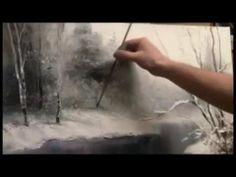 Winter landscape. Oil painting lessons