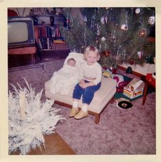 Vintage Photo Young Blonde Girl & Newborn Baby on Ottoman w Christmas Tree Great Christmas Movies, Vintage Christmas Photos, Christmas Albums, Christmas Books, Christmas Music, Retro Christmas, Christmas Pictures, Family Christmas, Christmas Trees