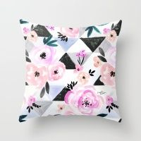 Sunset Rose Triangles Throw Pillow