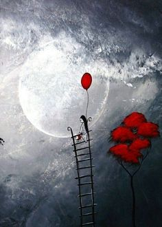 The moon and a red balloon Red Balloon, Balloons, Art Fantaisiste, Moon Art, Pics Art, Heart Art, Whimsical Art, Stars And Moon, Prints For Sale