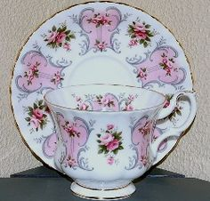 Valerie    Introduced: EST After 1962 to 1980s    Description: Pink    Cup Shape: Montrose, Coffee Cans    Plate Shape: Montrose    Series of Six, Isabel, Jennifer, Patricia, Paula, Suzanne, and Valerie