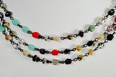 """Multicolor - Three Strands of mix beads and pearls - Antique Silver toggle clasp - 21"""" 1/2 long Necklace"""