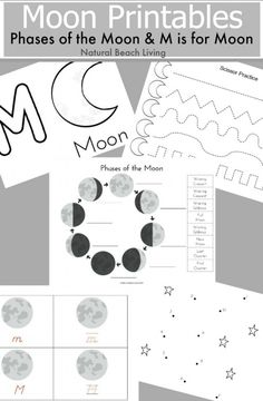 The Best Moon Activities, Montessori Inspired Astronomy Unit Study, Phases of the moon, Crafts. Letter M Activities, Space Activities For Kids, Moon Activities, Space Preschool, Planets Preschool, Astronomy Crafts, Space And Astronomy, Astronomy Stars, Kindergarten Themes