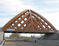 The world's first heavy traffic road bridge made from Accoya wood. The bridge, located in Sneek in the Netherlands, is the first wooden bridge in the world that can support the heaviest load class of 60 tons. Pictures Of Bridges, Love Bridge, See World, Bridge Design, Pedestrian Bridge, Covered Bridges, Civil Engineering, Netherlands, Around The Worlds