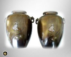 Pair Asian Japanese rare bronze Chokin vases with by RareAndFair
