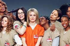 """As prison inmates, the women of the hit Netflix original series """"Orange Is the New Black"""" don't get much of a chance to dress up, but in the upcoming issue of Elle magazine, the diverse actresses show off their glamorous style! Orange Is The New Black, Orange Orange, Orange Crush, Best Tv Shows, Favorite Tv Shows, Movies And Tv Shows, Taylor Schilling, Laura Prepon, Orphan Black"""