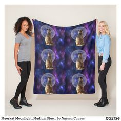 Meerkat Moonlight, Medium Fleece Blanket.