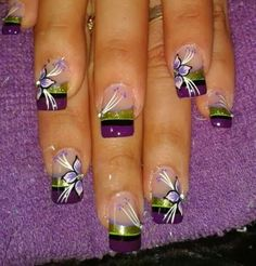 Beautiful Floral Nail Art Ideas for 2017 Flower Nail Designs, French Nail Designs, Colorful Nail Designs, Nail Art Designs, Nails Design, Floral Nail Art, Acrylic Nail Art, Glitter Nail Art, Cute Nails