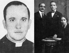 Jorge Bergoglio en 1973, posando para el fotógrafo Sergio Rubin; Jorge Bergoglio junto a sus padres. AP