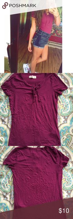 Hollister lace up shirt Only worn once!! Size small but fits like a xs Hollister Tops