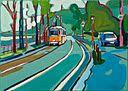 painting of Sara Osgyanyi - Tram in Budapest
