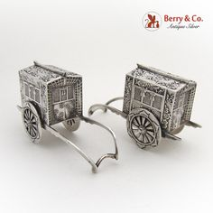 Rickshaw Salt and Pepper Shakers Japanese Sterling Silver