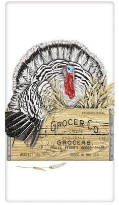 The true workhorse of any kitchen; the flour sack dish towel. Designed by Mary Lake Thompson, featuring a regal Tom Turkey on a grocer's crate!