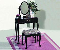 Mirror Vanity Set Makeup Table Stool Storage Drawer Dresser Antique Wood Desk #Traditional