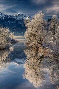 Wintery lake.Bavaria, Germany.