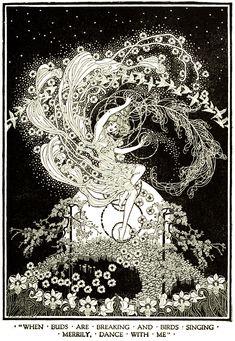 Art by Dugald Stewart Walker (1920) from DREAMBOATS AND OTHER STORIES. Art And Illustration, Old Book Illustrations, Black And White Illustration, Portrait Illustration, Arte Inspo, Kunst Inspo, Fantasy Kunst, Fantasy Art, Fairytale Art