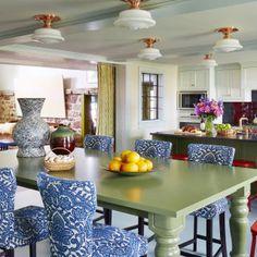 Colorful Farmhouse Tour -- Jeffery Bilhuber White green blue red in kitchen