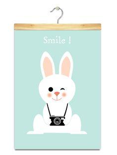 Affiche/Poster/Print A3 * Smile Rabbit. : Autres bébé par pagaille-et-cie