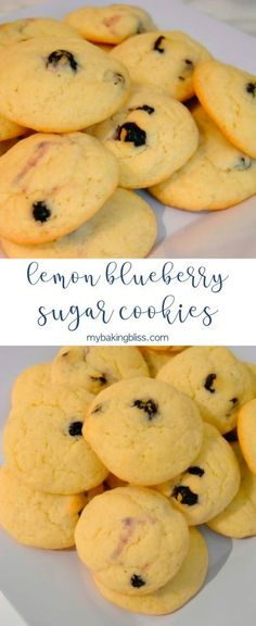 These easy lemon blueberry sugar cookies are a fun twist on a classic sugar cookie. Easy and quick to make, this recipe is perfect any time of year. Lemon Blueberry Cookies, Lemon Sugar Cookies, Blueberry Recipes, Sugar Cookies Recipe, Yummy Cookies, Cookie Recipes, Drop Cookies, Summer Dessert Recipes, Spring Recipes