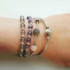 Stacking Pandora and Stephanie Richards bracelets. Mix and match. Stacking love!