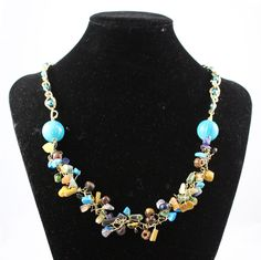Turquoise, Tan & Navy Beaded Wire Necklace With Gold Chain