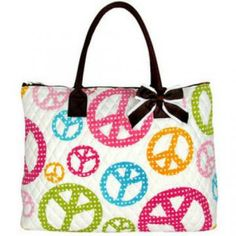 Extra Large Quilted Peace Signs Tote on White with removable Bow an...... by KatelynsKrafts for $30.00 #zibbet