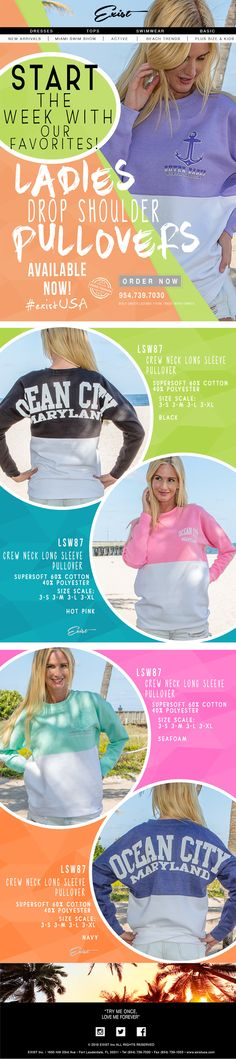 Start The Week with Our Favorites! Ladies Pullovers! #existUSA go to http://facebook.com/ExistINC  and like us! #pullovers