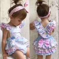 2017 New Lovely Infant Baby Girl Floral Romper Jumpsuit Outfits Sunsuit Clothes Baby Girl Romper, Little Girl Dresses, Baby Girl Newborn, Baby Girls, Toddler Girls, Baby Bodysuit, Baby Girl Fashion, Kids Fashion, Baby Overall