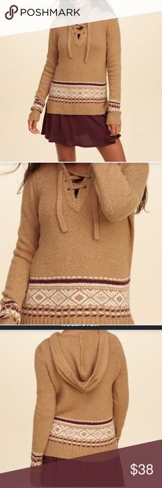 HOLLISTER LACE-UP HOODED SWEATER Beautiful and stylish! NWT! 55% cotton, 34% acrylic, 10% polyester, 1% elastane. Color: light brown patterned. No trades, offers welcome. Size: Small. 01722210190 Hollister Tops Sweatshirts & Hoodies