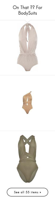"""On That ❤️ For BodySuits"" by jadakiyaxo ❤ liked on Polyvore featuring swimwear, one-piece swimsuits, swimsuits, bathing suits, swim, bikini, light gray, halter top one piece swimsuit, low cut one piece swimsuit and halter top"