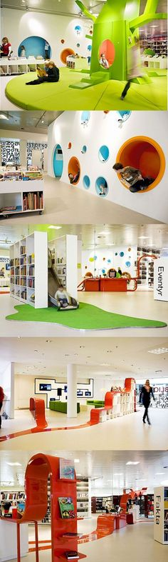 I like the Hard and Soft areas also the indoor slide Kindergarten Interior, Kindergarten Design, Kids Library, Library Design, Library Ideas, Kids Play Centre, Kids Cafe, Indoor Playground, Classroom Design