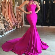Mermaid Long High Neck Sexy Simple Charming Party Evening Dresses Prom Dress