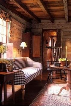 Primitive Living Room, Primitive Homes, Primitive Decor, Prim Decor, Country Primitive, Primitive Furniture, Primitive Antiques, Cabin Homes, Log Homes