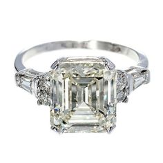 Asscher Emerald Cut Diamond White Gold Ring   From a unique collection of vintage engagement rings at http://www.1stdibs.com/jewelry/rings/engagement-rings/