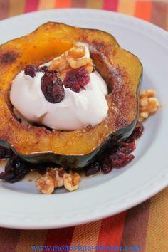 Baked Acorn Squash on http://momwhats4dinner.com/baked-acorn-squash/