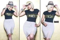 I Came To Slay Bitch T-shirt w/Knit Distressed Skirt