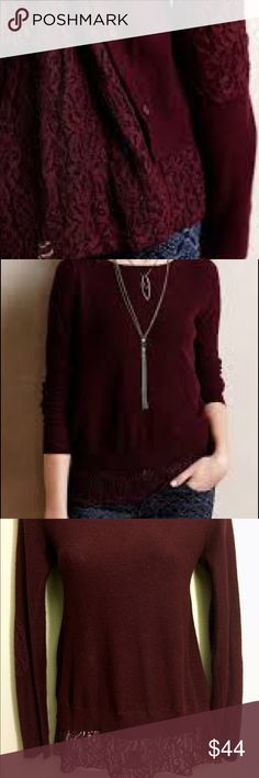 Anthropologie Lace Parted Pullover Angels of the North, Anthropologie,  Lace Parted Pullover in Plum Wine. Cotton, Rayon, Nylon & Cashmere, Light knit Sweater with Lace Inset/Lace Detail on Elbows, Hem, and Open Buttoned Back. Size XS Anthropologie Sweaters Crew & Scoop Necks