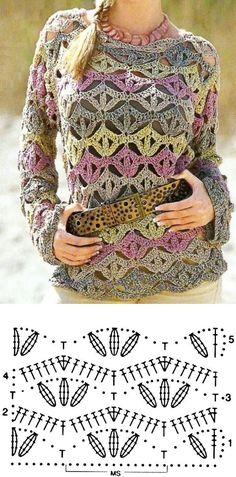 Crochet Cardigan Pattern, Crochet Blouse, Knit Crochet, Crochet Sweaters, Crochet Tops, Crochet Designs, Crochet Patterns, Bandeau Crochet, Bracelet Crochet
