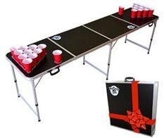 Bring the party to the people with this portable beer pong table! Simply open up and unfold the legs ready for some great fun! Includes 6 balls.