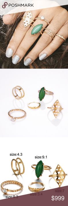 """COMING SOON!! """"Like"""" To Be Notified!! COMING SOON!! """"Like"""" To Be Notified!! Brand new in original packaging.  Bohemian 5pcs/Pack vintage green lucky stone stackable midi knuckle ring set.  Made of Antique gold electroplated metal, nickel & lead free.  Set of rings feature: Pear-shaped green stone statement ring, golden aztec tribal carved double arrow ring, textured spiral gold band w/ solitaire cubic zircon crystal stone & gold double band ring. Jewelry Rings"""