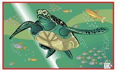 TARTARUGA MARITIMA As tartarugas marinham são répteis que vivem nos oceanos em áreas tropicais e subtropicais. O tamanho das tartarugas marinhas adultas pode variar de 1m até 2m de comprimento, caso da tartaruga-de-couro ou tartaruga-gigante. Indivíduos adultos desta espécie podem atingir até 600 kg. Desenho - Ilustração - Illustration - Drawing http://arterocha.blogspot.com.br