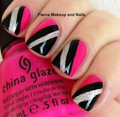 Pretty silver, black & pink tape nail art design