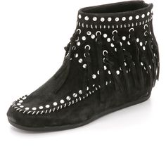Ash Spirit Booties ($280) ❤ liked on Polyvore featuring shoes, boots, ankle booties, black, black fringe booties, fringe boots, moccasin booties, leather moccasins and leather booties