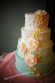 yellow ombre wedding cake | Ombre Tiffany Blue Wedding Cake with Sugar Flower Cascade | Flickr ...
