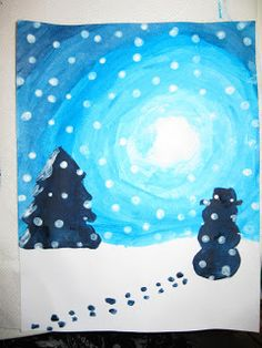 Winter Wonderland Art: Step-by-step directions provided. Beautiful!!