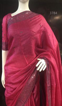Tussar Silk Saree With Mirror Work Border. Trendy Sarees, Stylish Sarees, Fancy Sarees, Satin Saree, Tussar Silk Saree, Chiffon Saree, Sari Dress, The Dress, Kerala Saree Blouse Designs