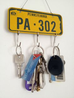 Vintage Retro License Plate Key Hooks - American Mini Bicycle Cereal Number Plates