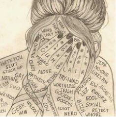 This is what anxiety is like. You shove all these words into you and live by them thinking they're true. Depression Art, Sad Drawings, My Demons, In My Feelings, Sad Quotes, Doodles, Sketches, Artist, Illustration
