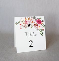 Floral Wedding Table Numbers, Modern Table numbers, Rustic Wedding Table Numbers, Wedding Decor. Wedding Decoration. Handmade. Display these beautiful handmade rustic floral table numbers are your wedding. INCLUDED: • Table #s 1-10  DETAILS: • Off White cardstock • Single sided and measure 4 1/4 x 5 1/2 inches. This listing is for numbers 1 - 10. CUSTOMIZATION: • Additional table numbers : - Single sided: $2.25 ea. - Double sided tented $4.50 ea • If you need more than 10, please message me…