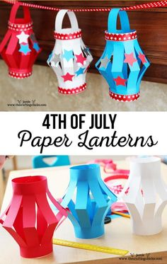 Paper Lanterns, of July Style. This is a fun Kid's Craft for your upcoming of July Festivities. And a great way to keep the kids busy. This is a fun Kid's Craft for your upcoming of July Festivities. And a great way to keep the kids busy. 4th July Crafts, Fourth Of July Crafts For Kids, Patriotic Crafts, Fun Crafts For Kids, Toddler Crafts, Crafts To Do, Preschool Crafts, Art For Kids, Activities For Kids